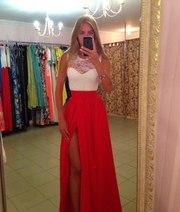 Красивое длинное платье с гипюровым верхом(261101)
