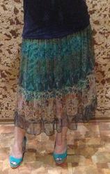 Зеленая шифоновая юбка