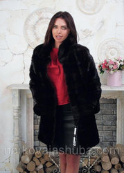 Женская длинная шуба из меха норки поперечка размер 40 42 44